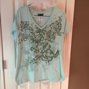 Pretty sea-green top with flowers & silver accents